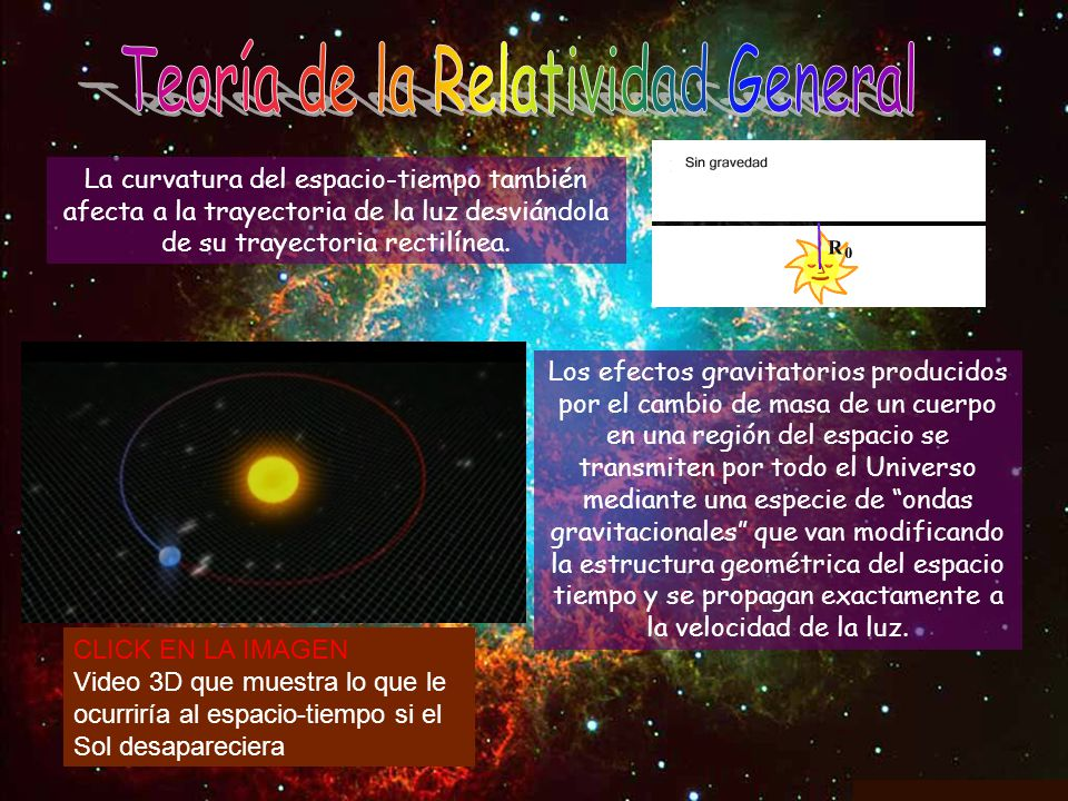 La curvatura del espacio-tiempo también afecta a la trayectoria de la luz desviándola de su trayectoria rectilínea. Los efectos gravitatorios producid