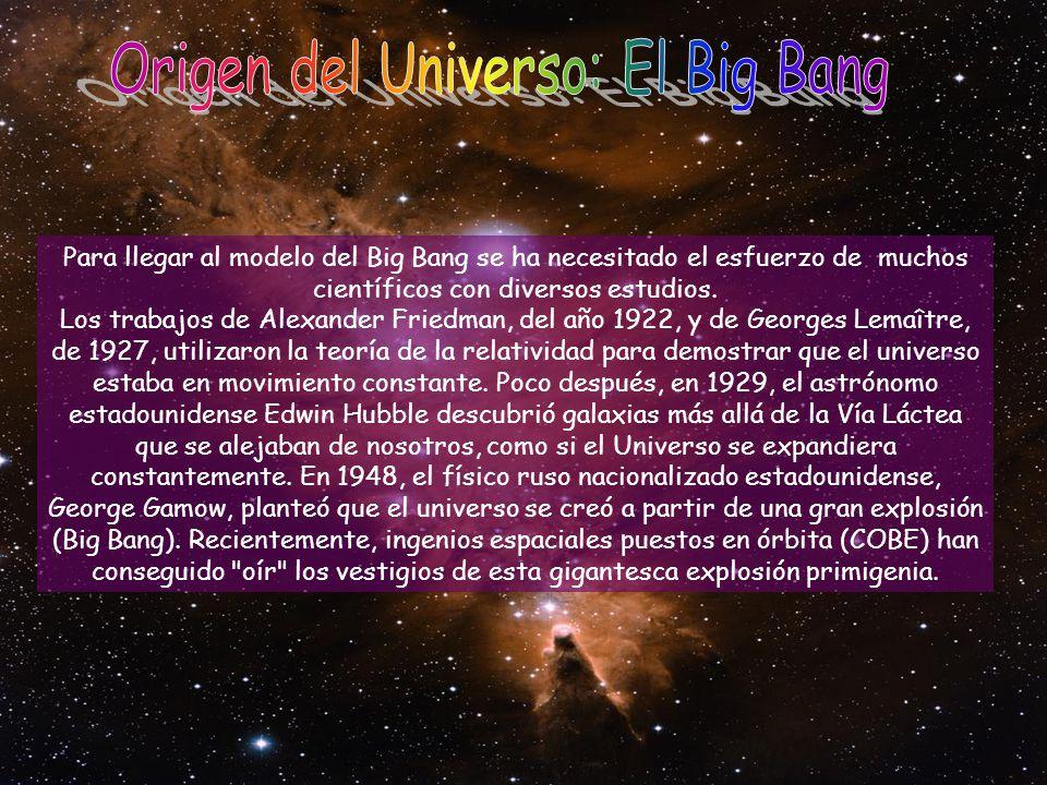 Para llegar al modelo del Big Bang se ha necesitado el esfuerzo de muchos científicos con diversos estudios. Los trabajos de Alexander Friedman, del a