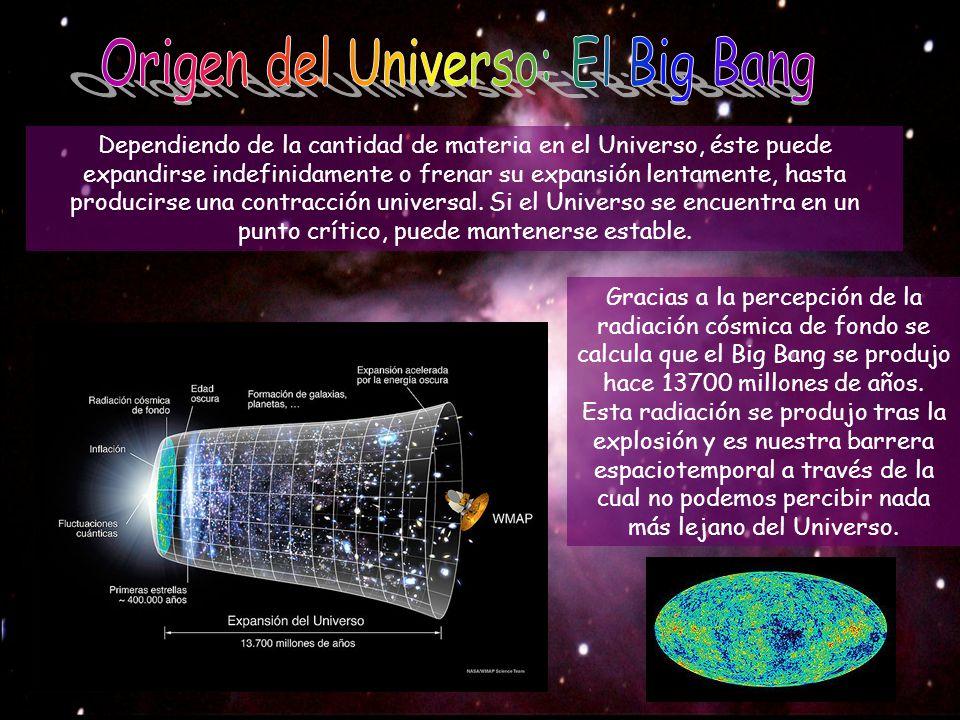 Dependiendo de la cantidad de materia en el Universo, éste puede expandirse indefinidamente o frenar su expansión lentamente, hasta producirse una con