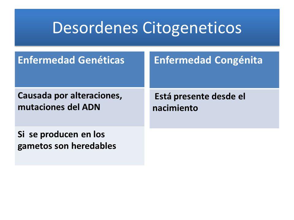 Enfermedad Genéticas Causada por alteraciones, mutaciones del ADN Si se producen en los gametos son heredables Enfermedad Congénita Está presente desde el nacimiento