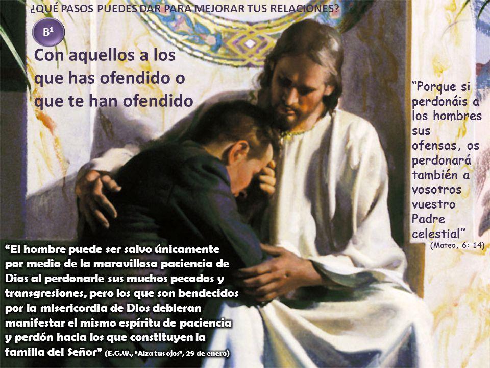 Porque si perdonáis a los hombres sus ofensas, os perdonará también a vosotros vuestro Padre celestial (Mateo, 6: 14) Con aquellos a los que has ofend