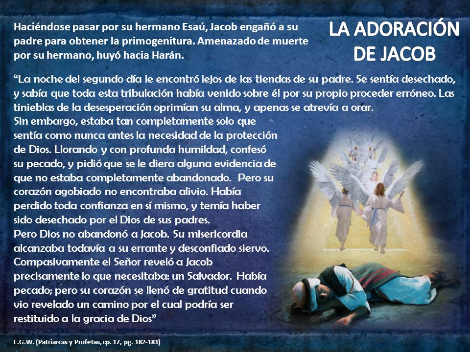 Haciéndose pasar por su hermano Esaú, Jacob engañó a su padre para obtener la primogenitura. Amenazado de muerte por su hermano, huyó hacia Harán. La
