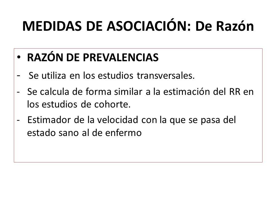 MEDIDAS DE ASOCIACIÓN: De Razón RAZÓN DE PREVALENCIAS - Se utiliza en los estudios transversales. - Se calcula de forma similar a la estimación del RR