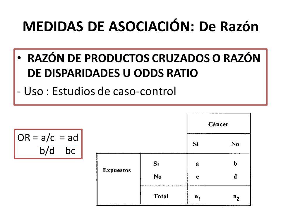 MEDIDAS DE ASOCIACIÓN: De Razón RAZÓN DE PRODUCTOS CRUZADOS O RAZÓN DE DISPARIDADES U ODDS RATIO - Uso : Estudios de caso-control OR = a/c = ad b/d bc