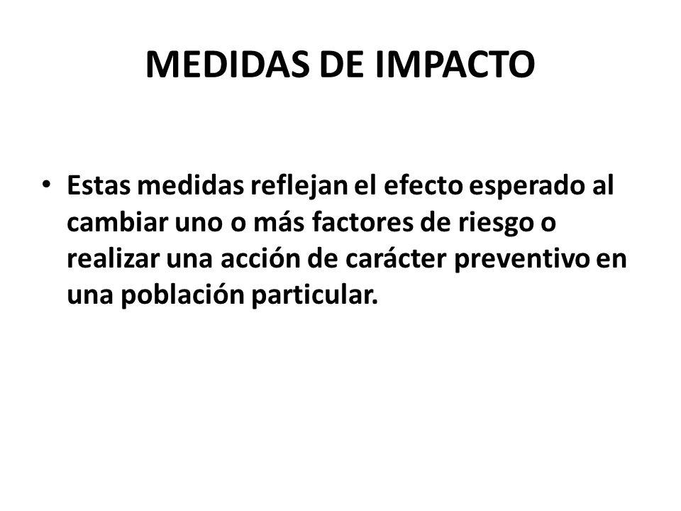 MEDIDAS DE IMPACTO Estas medidas reflejan el efecto esperado al cambiar uno o más factores de riesgo o realizar una acción de carácter preventivo en u