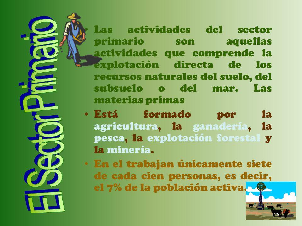 Las actividades del sector primario son aquellas actividades que comprende la explotación directa de los recursos naturales del suelo, del subsuelo o