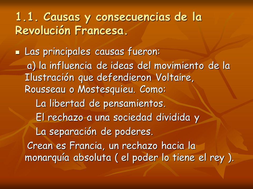 1.1. Causas y consecuencias de la Revolución Francesa. Las principales causas fueron: Las principales causas fueron: a) la influencia de ideas del mov