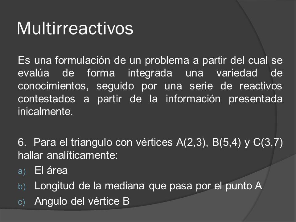 Multirreactivos Es una formulación de un problema a partir del cual se evalúa de forma integrada una variedad de conocimientos, seguido por una serie