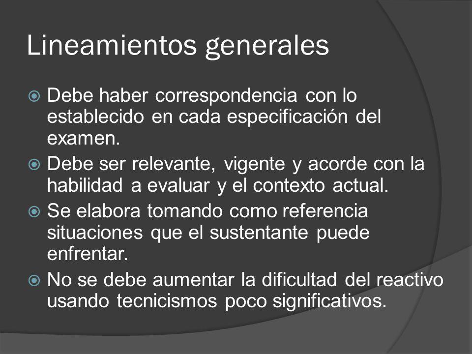 Lineamientos generales Debe haber correspondencia con lo establecido en cada especificación del examen.
