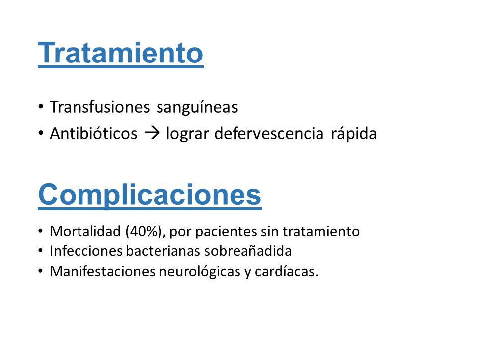 Tratamiento Transfusiones sanguíneas Antibióticos lograr defervescencia rápida Complicaciones Mortalidad (40%), por pacientes sin tratamiento Infeccio
