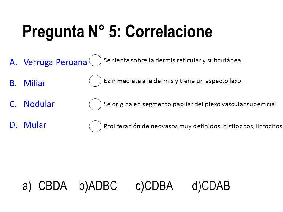 Pregunta N° 5: Correlacione A.Verruga Peruana B.Miliar C.Nodular D.Mular a)CBDAb)ADBCc)CDBAd)CDAB Se origina en segmento papilar del plexo vascular su