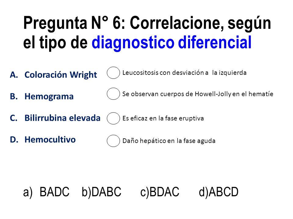 A.Coloración Wright B.Hemograma C.Bilirrubina elevada D.Hemocultivo Pregunta N° 6: Correlacione, según el tipo de diagnostico diferencial a)BADCb)DABC