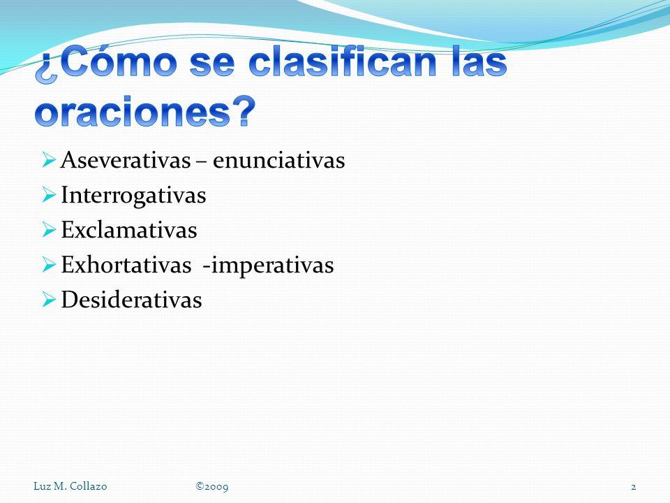 Aseverativas – enunciativas Interrogativas Exclamativas Exhortativas -imperativas Desiderativas Luz M.