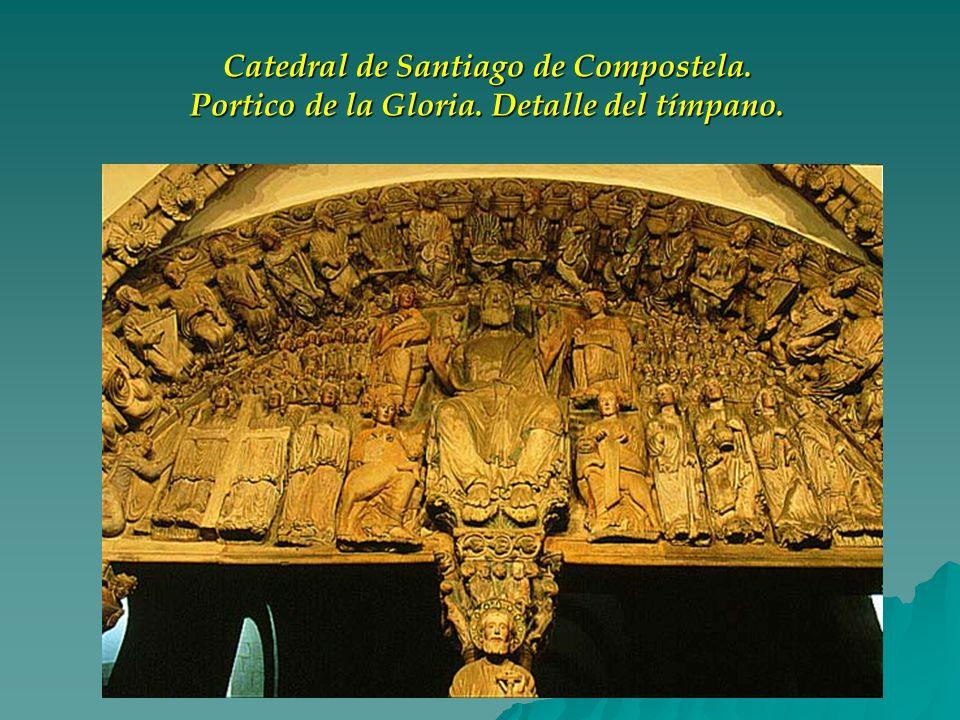 Catedral de Santiago de Compostela. Portico de la Gloria. Detalle del tímpano.