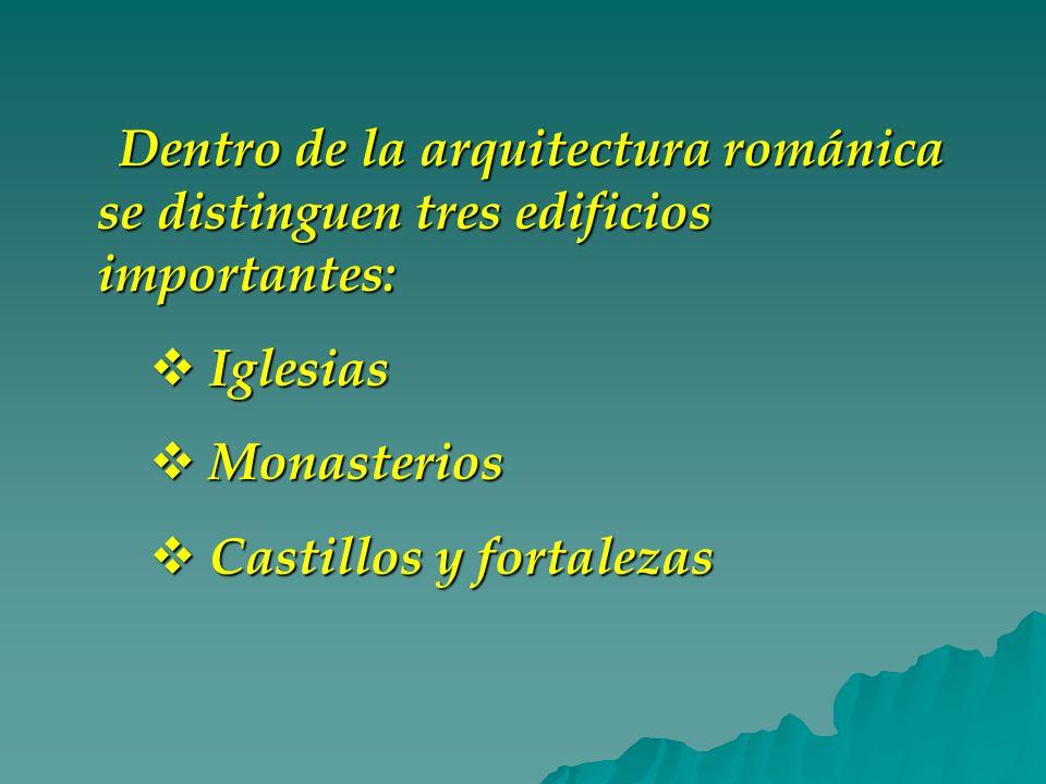 Dentro de la arquitectura románica se distinguen tres edificios importantes: Iglesias Iglesias Monasterios Monasterios Castillos y fortalezas Castillos y fortalezas