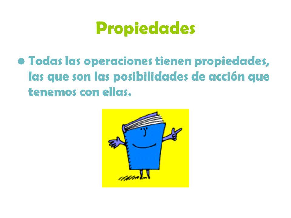 Propiedades Todas las operaciones tienen propiedades, las que son las posibilidades de acción que tenemos con ellas.