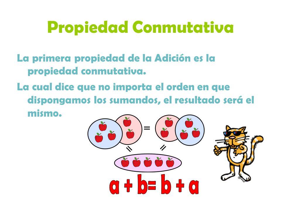 Propiedad Conmutativa La primera propiedad de la Adición es la propiedad conmutativa. La cual dice que no importa el orden en que dispongamos los suma