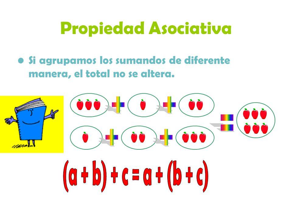 Propiedad Asociativa Si agrupamos los sumandos de diferente manera, el total no se altera.