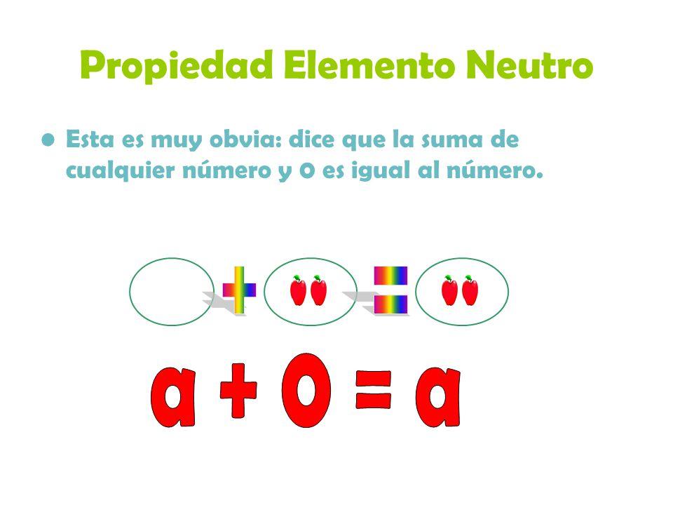 Propiedad Elemento Neutro Esta es muy obvia: dice que la suma de cualquier número y 0 es igual al número.