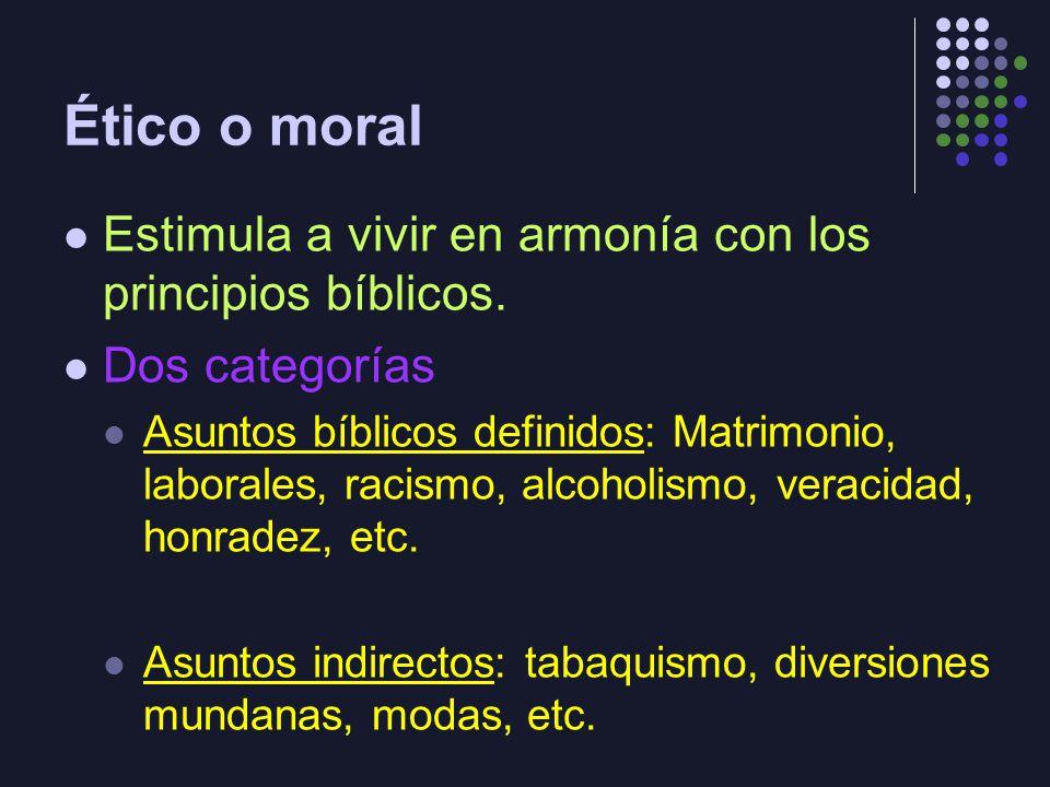 Ético o moral Estimula a vivir en armonía con los principios bíblicos. Dos categorías Asuntos bíblicos definidos: Matrimonio, laborales, racismo, alco