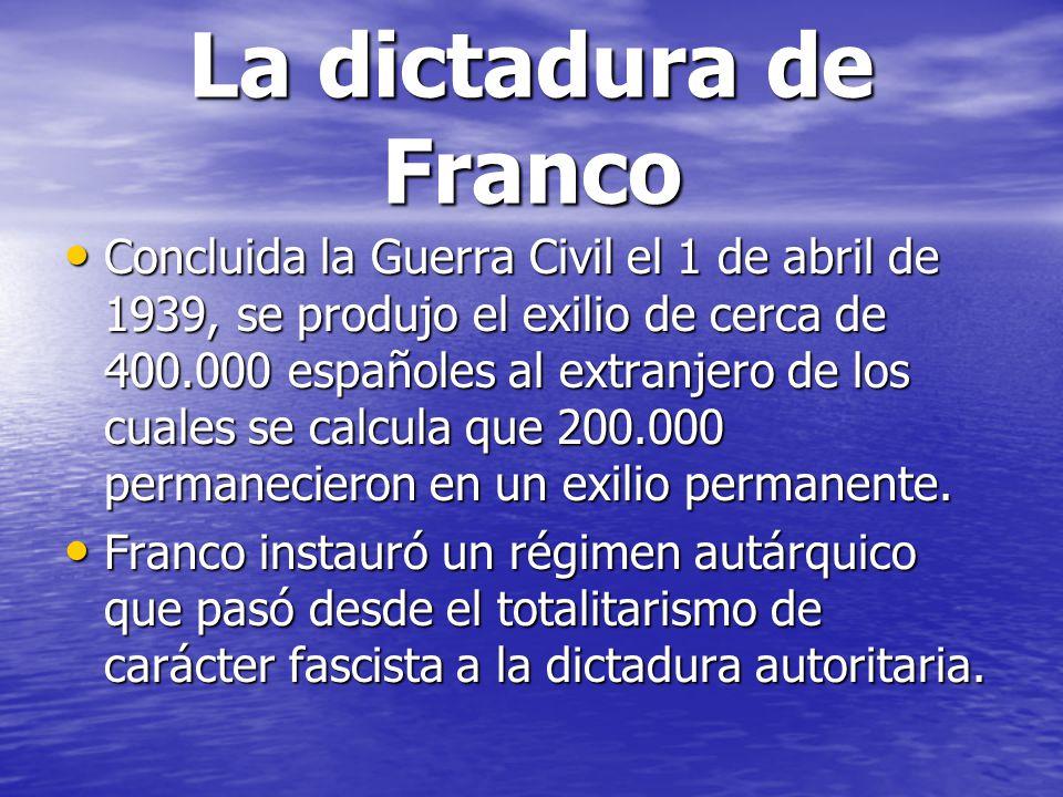 La dictadura de Franco Concluida la Guerra Civil el 1 de abril de 1939, se produjo el exilio de cerca de 400.000 españoles al extranjero de los cuales