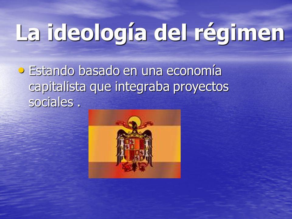 La ideología del régimen Estando basado en una economía capitalista que integraba proyectos sociales. Estando basado en una economía capitalista que i