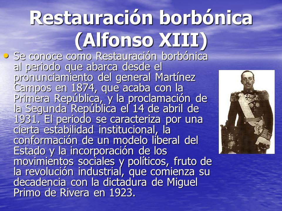 Restauración borbónica (Alfonso XIII) Se conoce como Restauración borbónica al periodo que abarca desde el pronunciamiento del general Martínez Campos