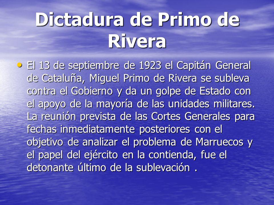 Dictadura de Primo de Rivera El 13 de septiembre de 1923 el Capitán General de Cataluña, Miguel Primo de Rivera se subleva contra el Gobierno y da un