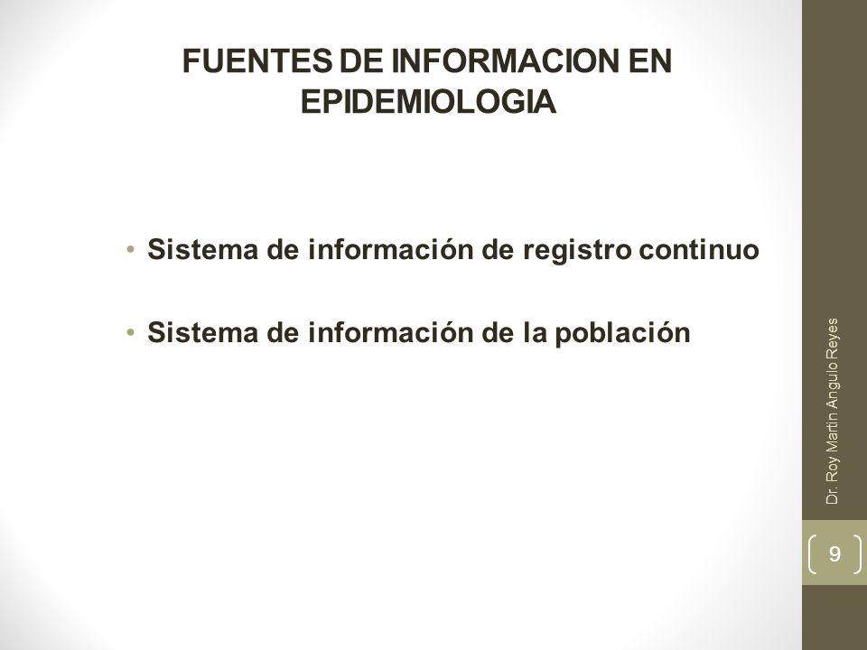 FUENTES DE INFORMACION EN EPIDEMIOLOGIA Sistema de información de registro continuo - Registros de sucesos demográficos (registros vitales) - Registros de los servicios de salud ( hoja HIS) MOSTRAR LA HOJA HIS ACTUAL Y EXPLICAR COMO SE REALIZA EL LLENADO DE LA INFORMACION - Datos de vigilancia epidemiológica (sistema NOTI) - Registros de enfermedades (registro del cáncer) 10 Dr.