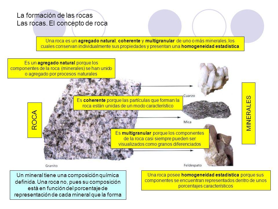 La formación de las rocas Las rocas. El concepto de roca Una roca es un agregado natural, coherente y multigranular de uno o más minerales, los cuales