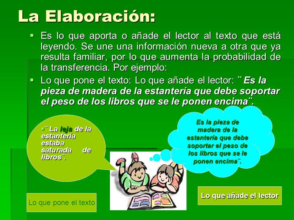 La Elaboración: Es lo que aporta o añade el lector al texto que está leyendo.