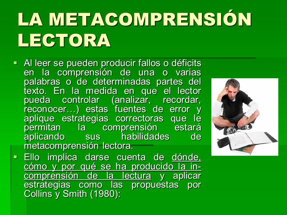 LA METACOMPRENSIÓN LECTORA Al leer se pueden producir fallos o déficits en la comprensión de una o varias palabras o de determinadas partes del texto.