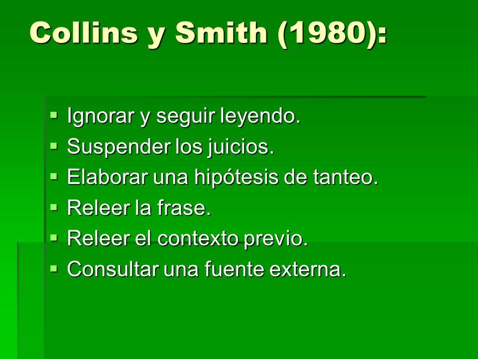 Collins y Smith (1980): Ignorar y seguir leyendo.Ignorar y seguir leyendo.