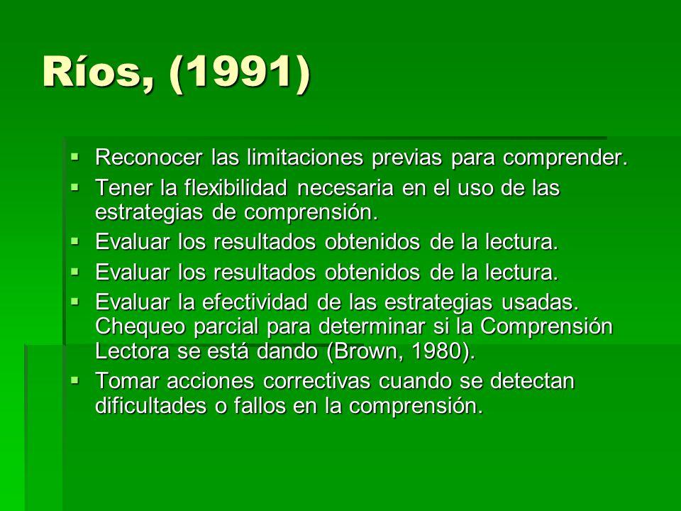 Ríos, (1991) Reconocer las limitaciones previas para comprender.