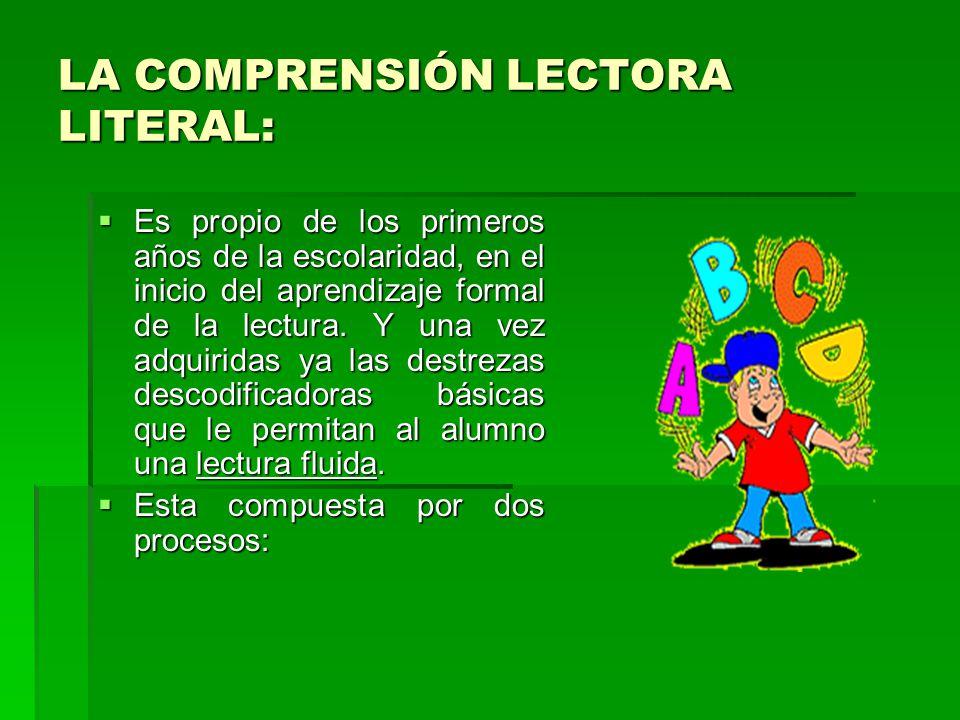 LA COMPRENSIÓN LECTORA LITERAL: Es propio de los primeros años de la escolaridad, en el inicio del aprendizaje formal de la lectura.