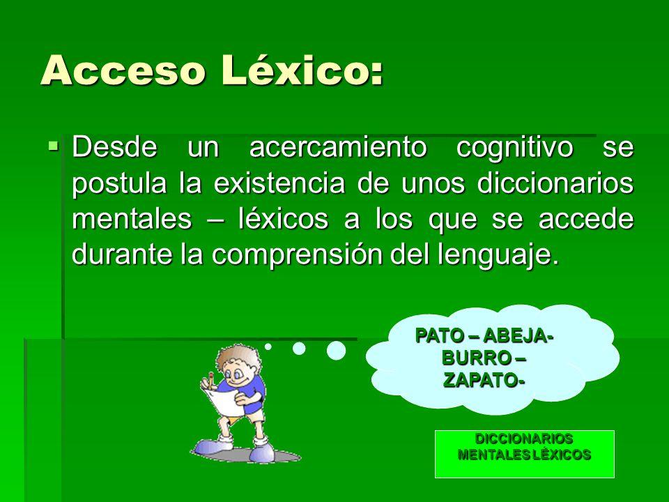 Acceso Léxico: Desde un acercamiento cognitivo se postula la existencia de unos diccionarios mentales – léxicos a los que se accede durante la comprensión del lenguaje.