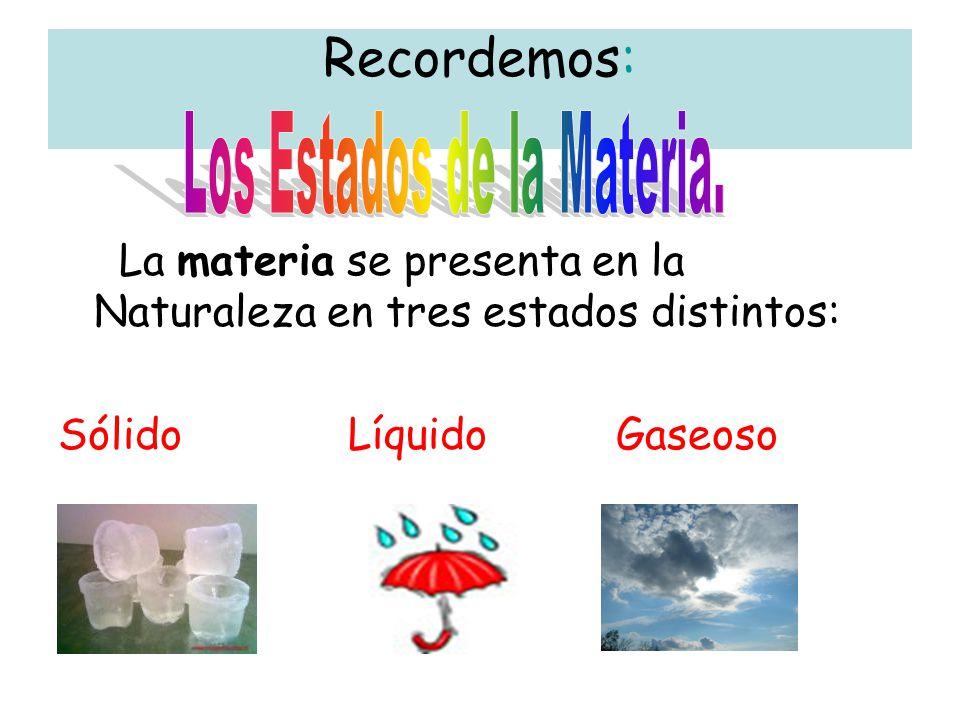 Recordemos: La materia se presenta en la Naturaleza en tres estados distintos: Sólido Líquido Gaseoso