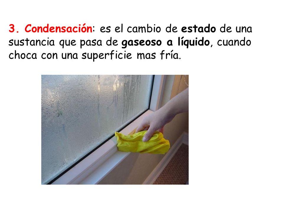 3. Condensación: es el cambio de estado de una sustancia que pasa de gaseoso a líquido, cuando choca con una superficie mas fría.