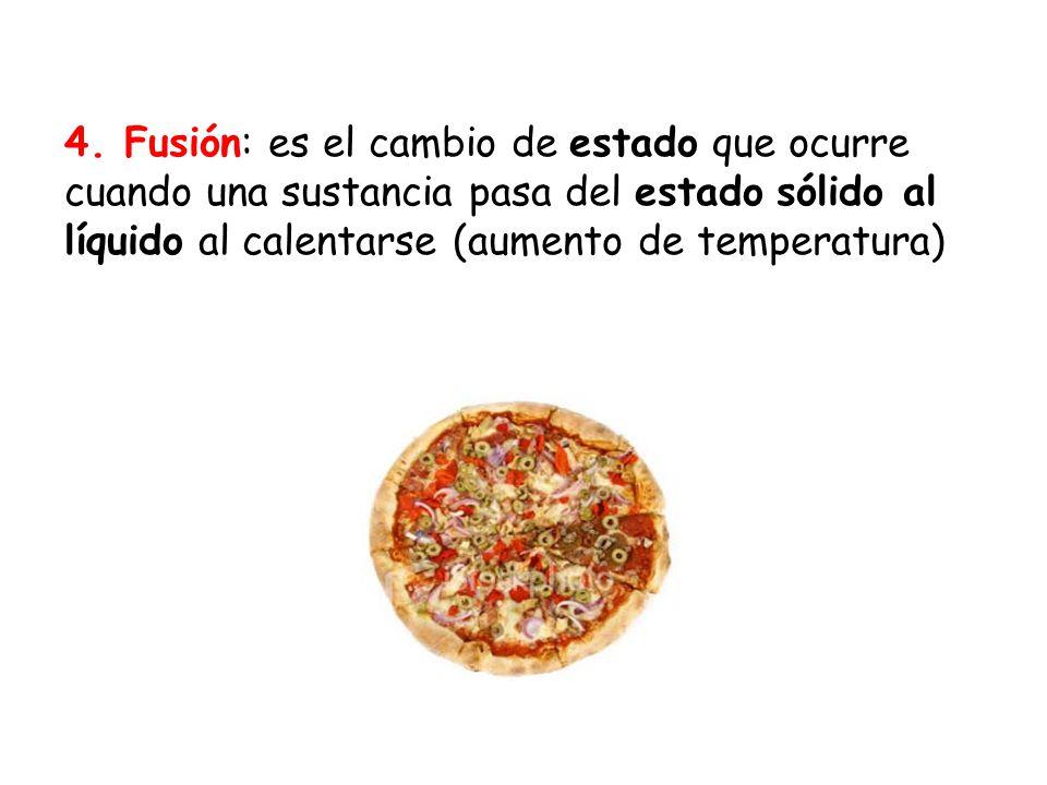 4. Fusión: es el cambio de estado que ocurre cuando una sustancia pasa del estado sólido al líquido al calentarse (aumento de temperatura)