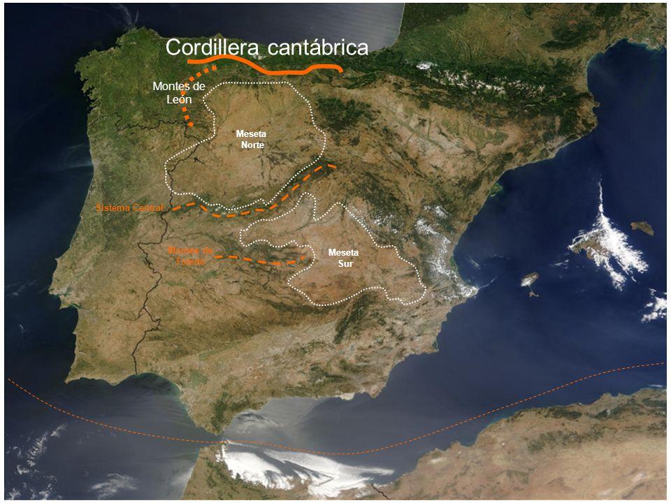 Meseta Norte Meseta Sur Montes de Toledo Montes de León Cordillera cantábrica Sistema Central