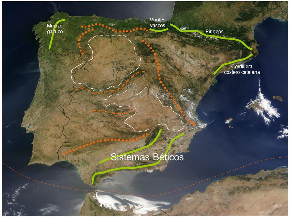 Macizo galaico Montes vascos Pirineos Cordillera costero-catalana Sistemas Béticos