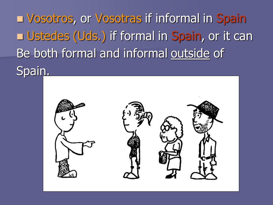 Vosotros, or Vosotras if informal in Spain Vosotros, or Vosotras if informal in Spain Ustedes (Uds.) if formal in Spain, or it can Ustedes (Uds.) if f