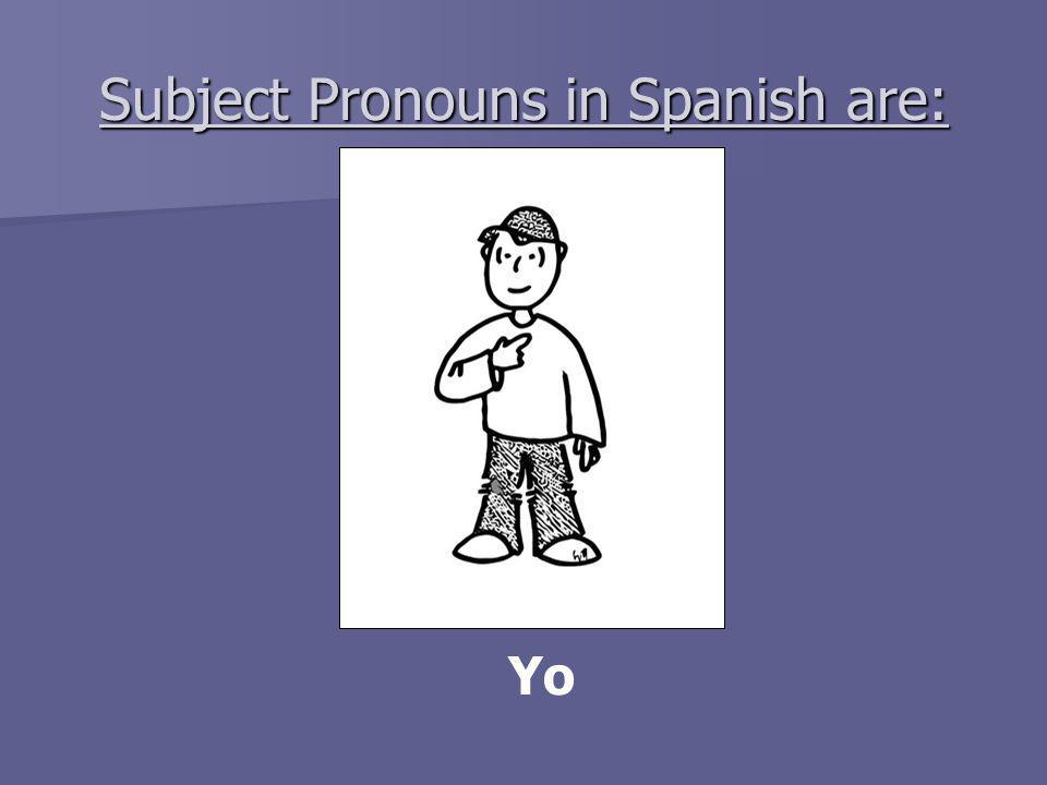 Subject Pronouns in Spanish are: Yo