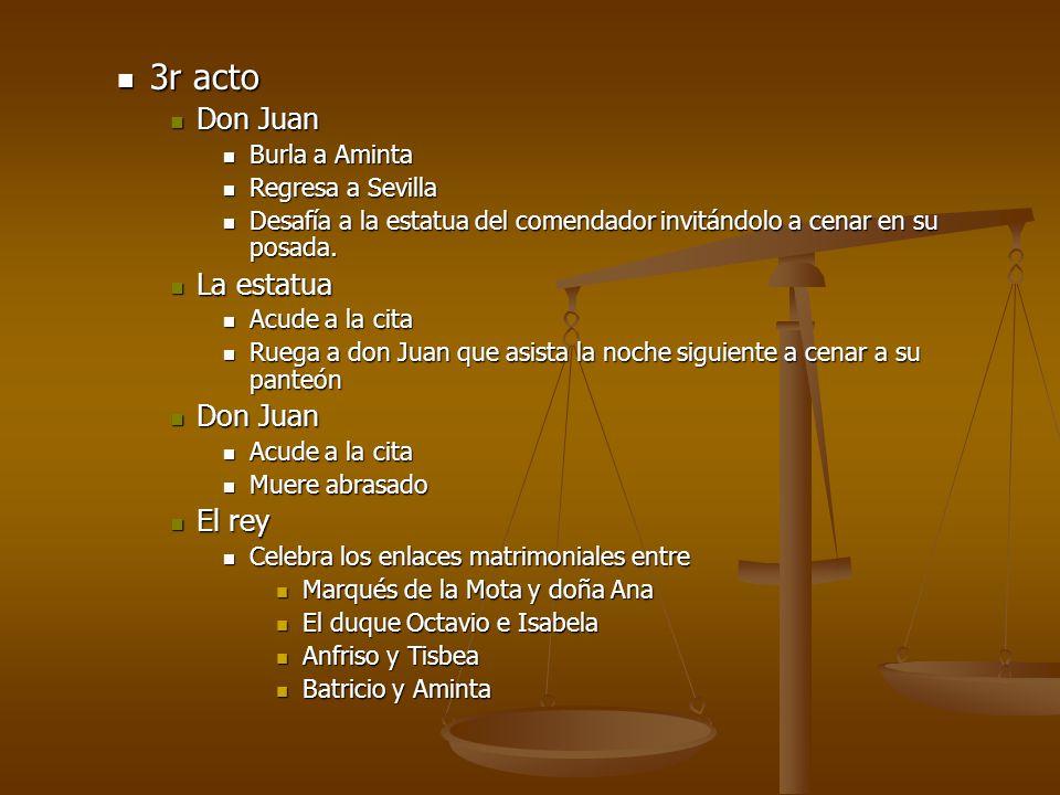 3r acto 3r acto Don Juan Don Juan Burla a Aminta Burla a Aminta Regresa a Sevilla Regresa a Sevilla Desafía a la estatua del comendador invitándolo a
