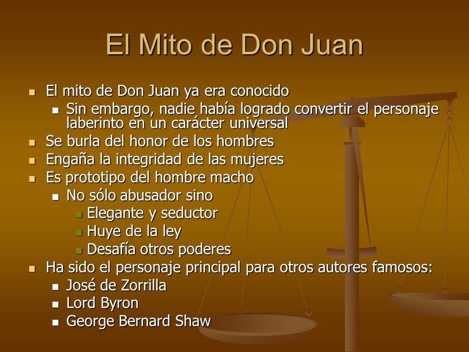 El Mito de Don Juan El mito de Don Juan ya era conocido El mito de Don Juan ya era conocido Sin embargo, nadie había logrado convertir el personaje la