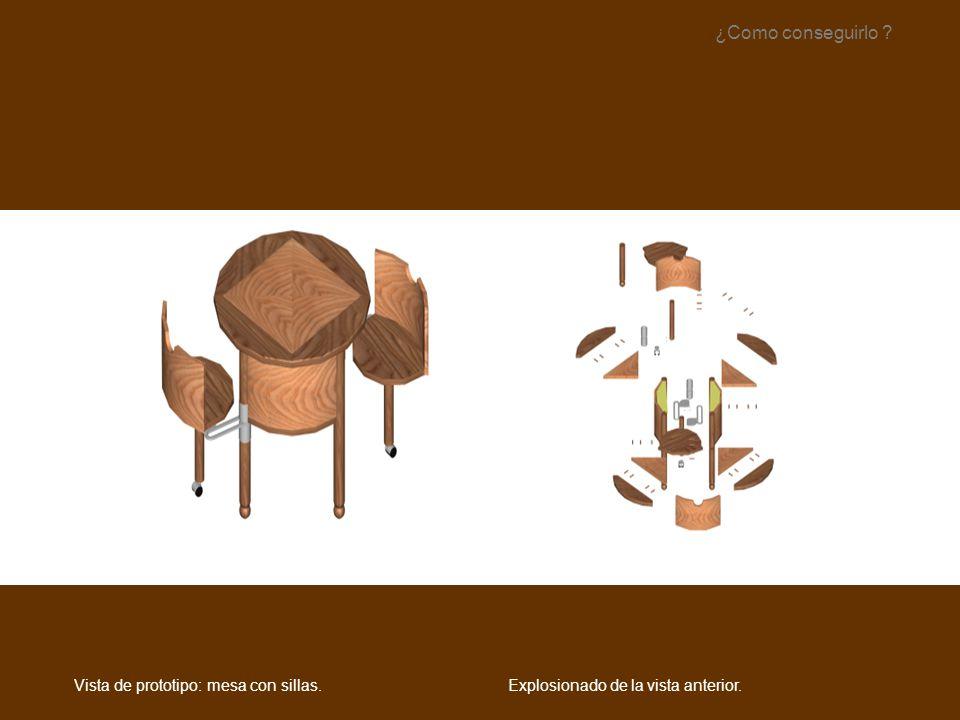 Explosionado de la vista anterior. ¿Como conseguirlo ? Vista de prototipo: mesa con sillas.