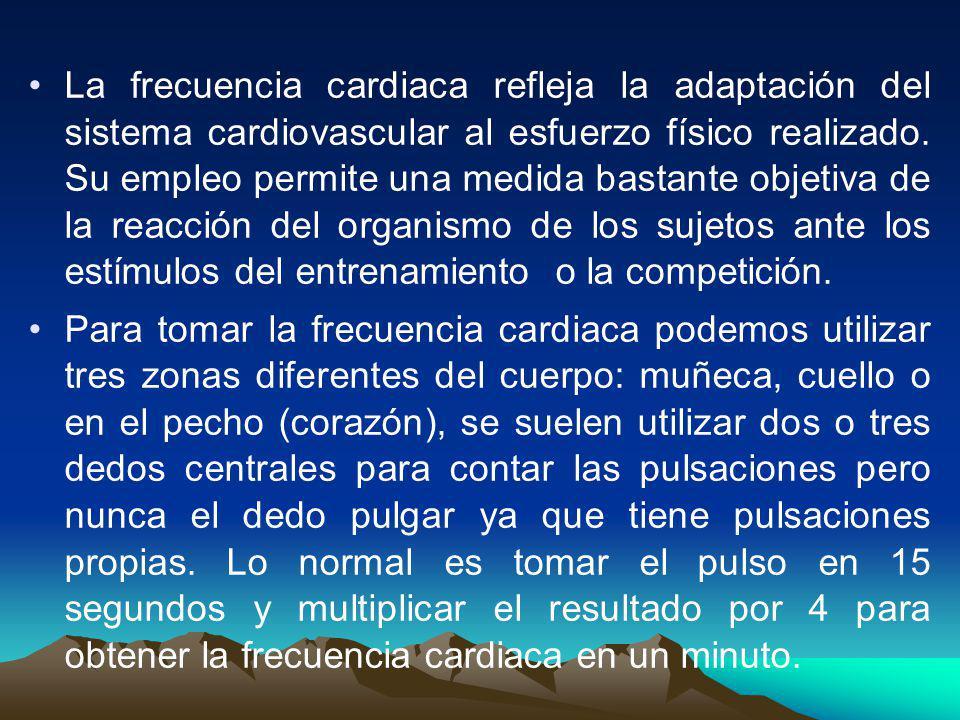 La frecuencia cardiaca refleja la adaptación del sistema cardiovascular al esfuerzo físico realizado. Su empleo permite una medida bastante objetiva d