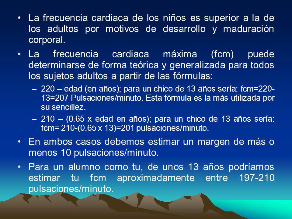 La frecuencia cardiaca de los niños es superior a la de los adultos por motivos de desarrollo y maduración corporal. La frecuencia cardiaca máxima (fc