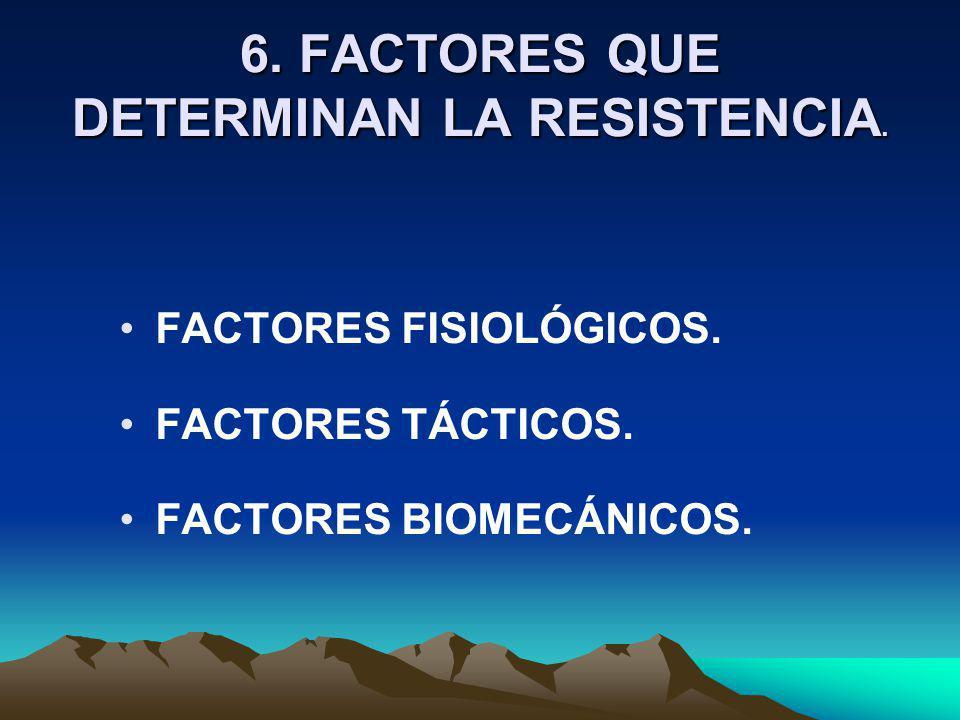 6. FACTORES QUE DETERMINAN LA RESISTENCIA. FACTORES FISIOLÓGICOS. FACTORES TÁCTICOS. FACTORES BIOMECÁNICOS.