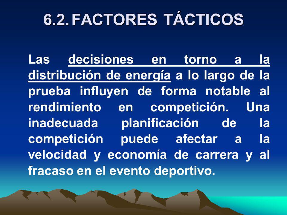 6.2.FACTORES TÁCTICOS Las decisiones en torno a la distribución de energía a lo largo de la prueba influyen de forma notable al rendimiento en competición.